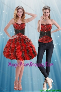 Multi Color Sweetheart Detachable Prom Skirts with Appliques and Ruffles