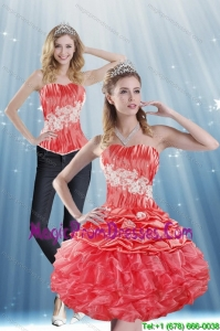 The Super Hot 2015 Strapless Appliques and Pick Ups Detachable Prom Skirts in Coral Red