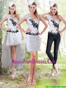 2015 Column Sweetheart White Detachable Prom Skirts with Black Appliques