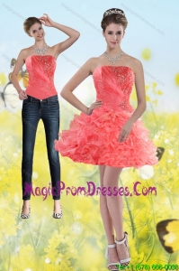 Fashionable 2015 Watermelon Red Strapless Detachable Prom Skirts with Beading and Ruffles