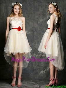 Classical One Shoulder High Low Champagne Prom Dress with Belt and Appliques
