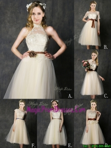 New Arrivals Knee Length Champagne Prom Dress with Lace