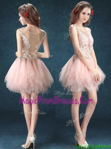 See Through Scoop Baby Pink Prom Dress with Appliques and Ruffles