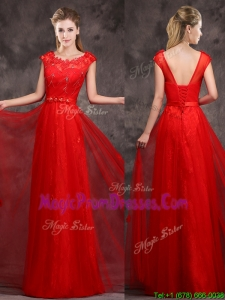 2016 Hot Sale Scoop Red Prom Dresses with Beading and Appliques