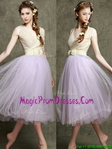2016 New Style Lavender V Neck Prom Dresses with Bowknot and Belt