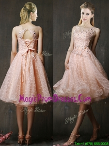 2016 See Through Beaded and Applique Peach Prom Dresses with Polka Dot