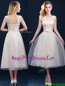 Best Selling See Through Champagne Prom Dresses with Appliques and Belt