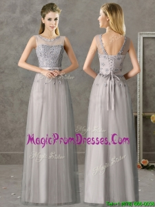 Cheap See Through Scoop Grey Long Prom Dresses with Appliques