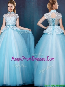Elegant High Neck Cap Sleeves Prom Dresses with Bowknot and Lace