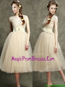 Exclusive Champagne V Neck Prom Dresses with Belt and Bowknot