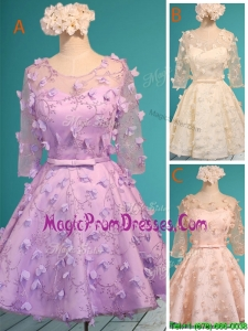 Exclusive See Through Scoop Half Sleeves Prom Dresses with Appliques and Belt