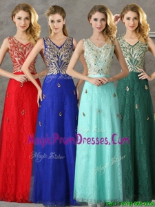 Fashionable V Neck Long Prom Dresses with Appliques and Beading