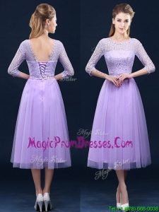 Latest Half Sleeves Tea Length Laced Prom Dresses in Lavender