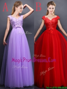 Unique V Neck Tulle Prom Dresses with Beading and Bowknot