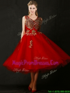 Beautiful V Neck Tea Length Prom Dresses with Beading and Appliques