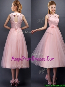 Discount Hand Made Flowers and Laced High Neck Prom Dresses in Baby Pink