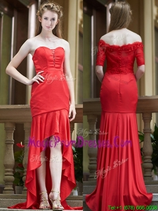 Exclusive Column High Low Red Prom Dresses with Brush Train