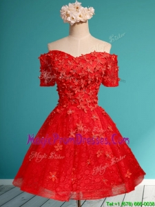 Exclusive Off the Shoulder Short Sleeves Prom Dresses with Appliques and Beading