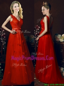 Exclusive V Neck Brush Train Prom Dresses with Belt and Butterfly Appliques