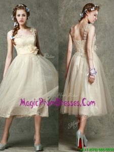 Gorgeous Straps Champagne Prom Dresses with Appliques and Hand Made Flowers