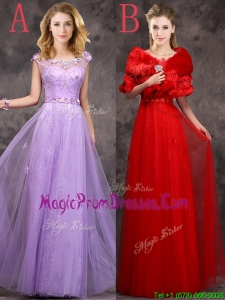 Impressive Beaded and Applique Cap Sleeves Long Prom Dresses in Tulle