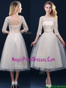 Impressive Hot Sale Laced and Applique Champagne Prom Dresses in Tea Length