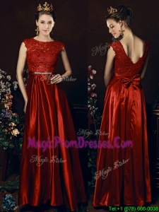 Impressive Scoop Laced and Bowknot Prom Dresses in Wine Red
