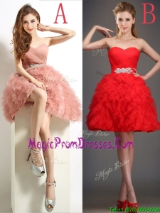 Lovely Beaded and Ruffled Puffy Skirt Prom Dresses in Tulle