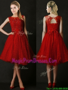 Modest Knee Length Red Prom Dresses with Beading and Appliques