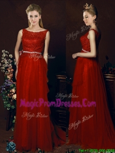 Popular Belted Empire Scoop Red Prom Dresses with Brush Train