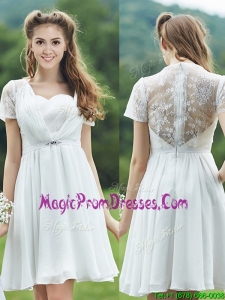 See Through Short Sleeves White Prom Dresses with Belt and Lace
