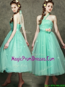 Discount Halter Top Prom Dress with Appliques and Hand Made Flowers