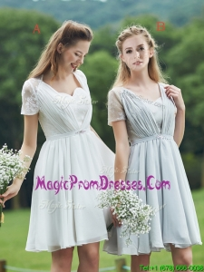 New Short Sleeves Prom Dress with Belt and Lace