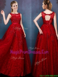 See Through Scoop Wine Red Prom Dress with Beading and Appliques