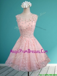 Best Scoop Beading and Appliques Short Prom Dress in Baby Pink