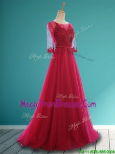 Cheap Scoop Appliques and Belt Prom Dress in Wine Red