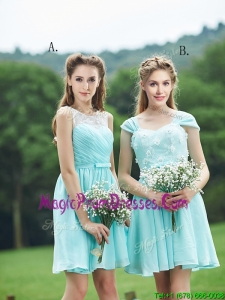 Classical Mint Short Prom Dress with Appliques and Belt