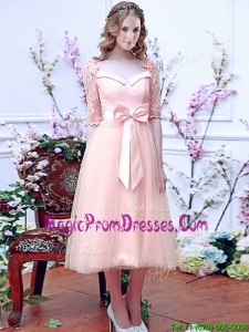 Comfortable Square Half Sleeves Bowknot Prom Dress in Baby Pink