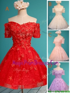 Elegant Off the Shoulder Short Sleeves Prom Dress with Appliques and Beading