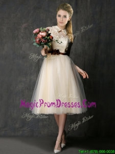Luxurious High Neck Champagne Prom Dress with Hand Made Flowers and Lace