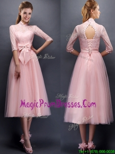 Luxurious Laced High Neck Half Sleeves Prom Dress with Bowknot