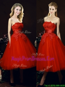Perfect Puffy Skirt Strapless Applique Tea Length Red Bridesmaid Dress