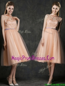Popular High Neck Peach Prom Dress with Sashes and Lace