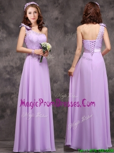 Pretty One Shoulder Lavender Prom Dress with Applique Decorated Waist