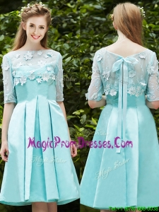 See Through Bateau Half Sleeves Appliques Prom Dress in Apple Green