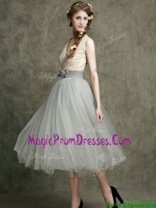 Wonderful Hand Made Flowers and Prom Dress with Tea Length