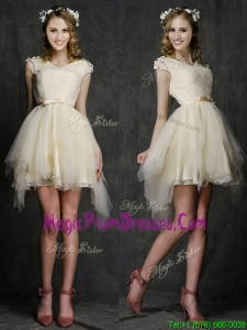 Best V Neck Cap Sleeves Short Prom Dress with Belt and Appliques