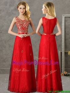Classical V Neck Red Prom Dress with Appliques and Beading