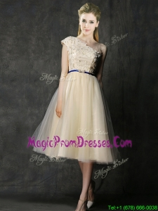 Elegant One Shoulder Sashes and Appliques Prom Dress in Champagne