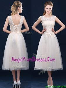 Fashionable Tea Length Scoop Prom Dress with Lace and Appliques
